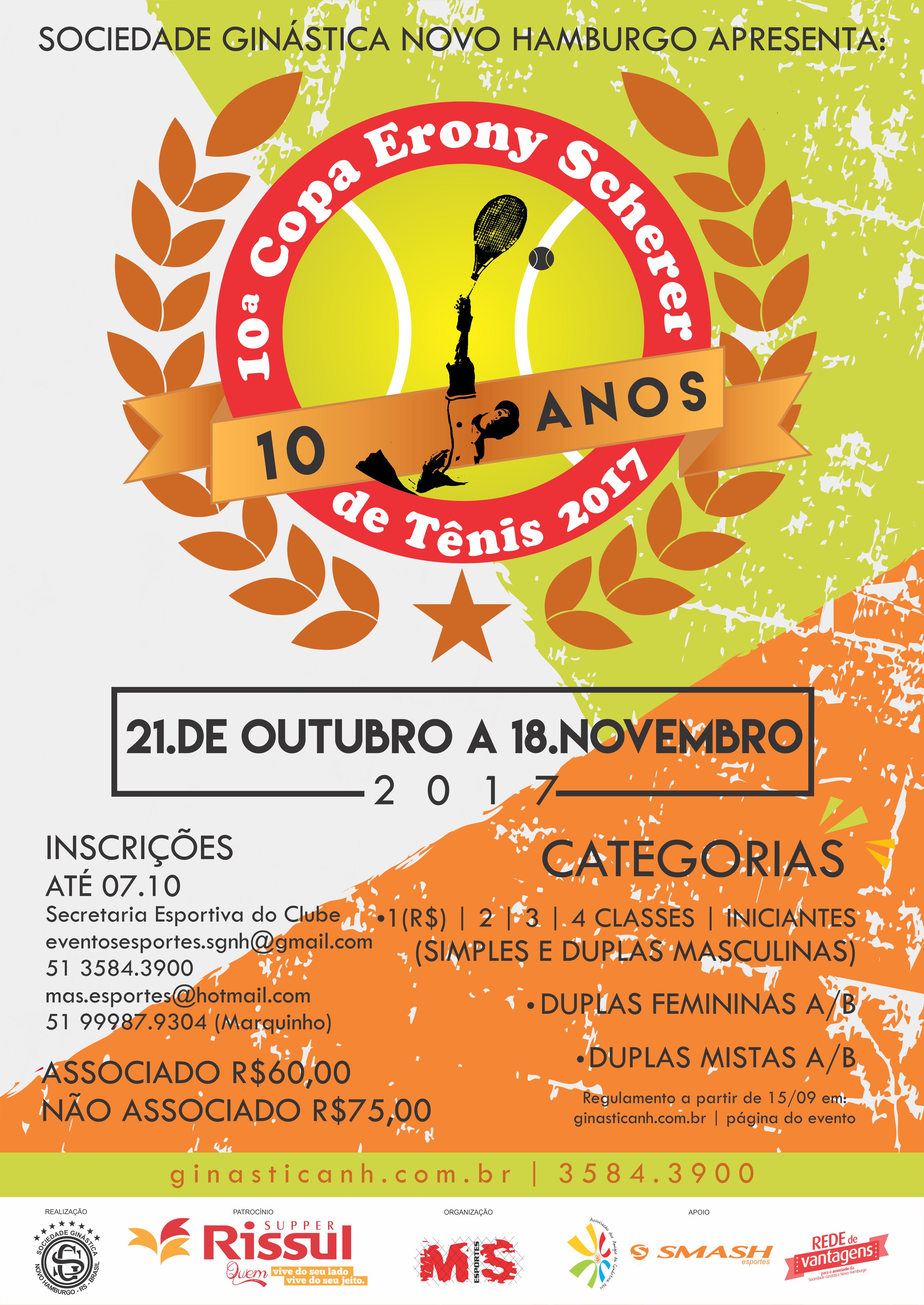 Copa Erony Scherer de Tênis chega a sua 10ª edição
