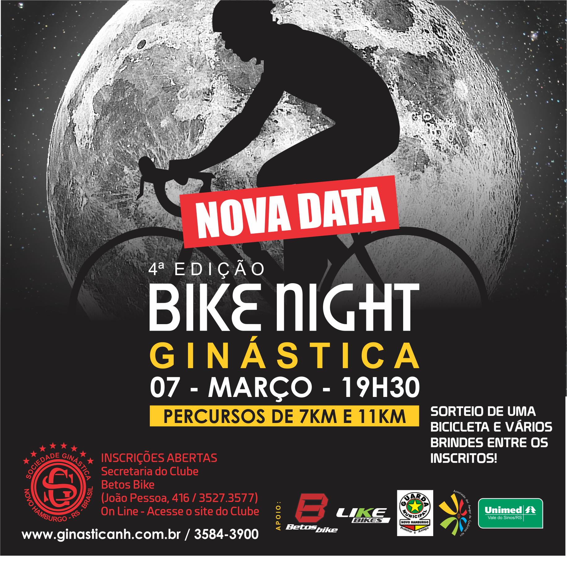 Bike Night da Ginástica tem nova data