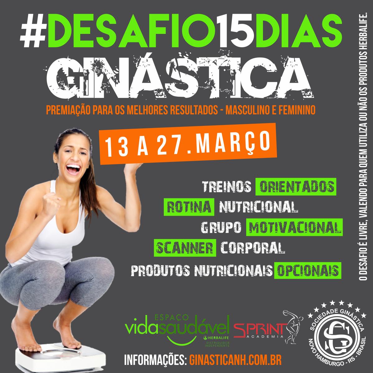 Espaço Vida Saudável da Ginástica promove Desafio 15 Dias